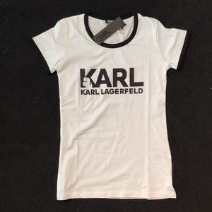 KARL LAGERFELD WHITE CHEST WRITTEN TSHIRT